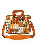 Meffort Inc 15 15.6 inch Orange Color Matching Neoprene Laptop Bag Sleeve with Extra Side Pocket, Soft Carrying Handle & Removable Shoulder Strap - Multiple Symbol
