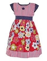 Babyhug Short Sleeves Flower Print Frock - Red