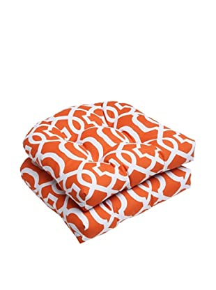 Pillow Perfect Set of 2 Outdoor New Geo Wicker Seat Cushions, Orange