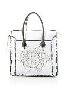 Isabella Fiore Women's Stella Floral Appliqué Shopper (Ivory/Black)