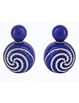 Jewel Touch Crystal spiral Royal Blue Color Round Shape Earrings
