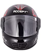 Accept A7 Full Face Helmet with Chrome Visor (Men, Black, M) - NH16_Shining Black with Red