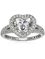 "Myia Passiello ""Hearts"" Swarovski Cubic Zirconia Halo Heart Split Shank Ring, Size 6"
