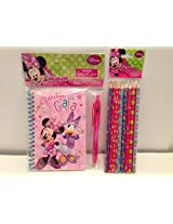 Minnie Mouse Journal with Pen and Set of 8 Minnie Color Pencils