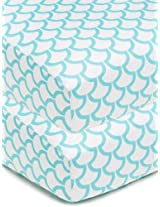 American Baby Company 100% Cotton Percale Fitted Crib Sheet, Aqua Sea Waves, 2 Count