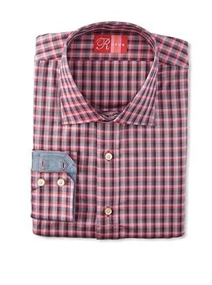 Rufus Men's Button Down Plaid Shirt (Pink/Red)
