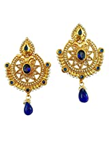 Lalso South Indian Blue AD Zircon Pearl Bridal Earrings For Wedding, Diwali, Festival, Navratri, Party, Gift - LAE46_BL
