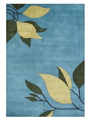Alliyah Rugs New Zealand Wool Rug (Blue/Vanilla/Green)