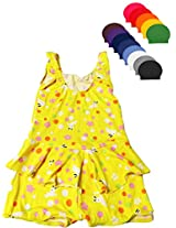 Yellow Frock Swim wear with Cap for Girls age 2-4 years