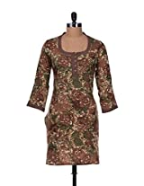 Brown floral print cotton kurta