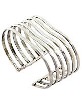 925-Silver Six Row Shining Silver Wide Bangle For Women 10390-1