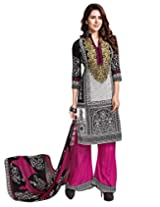 Jevi Prints Art Crepe Multicolor & Red Dress Material with Dupatta