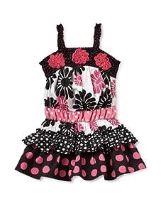 Beetlejuice Girl's 2T-6X Azalea Sleeveless Dress with Tiers (Multi)