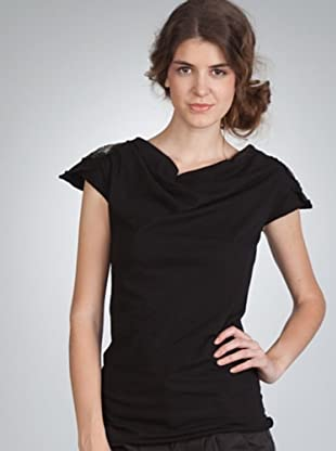 Naf Naf Camiseta Abalorios (negro)