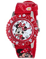 Disney Kids' W001024 Minnie Stainless Steel Printed Bezel Printed Strap Watch