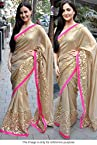 Bollywood Replica Elli Avram Cream Color Party Wedding Wear Saree