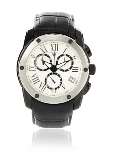 Swiss Legend Men's 10005-BB-02S-SB Traveler Collection Chronograph White Dial Black Leather Watch