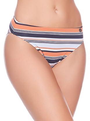 Carey Braguita de Bikini Rayas Alta (Azul Marino / Naranja)
