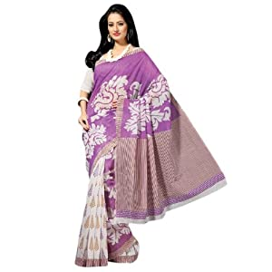 Triveni Sophisticated Violet Colored Cotton Printed Indian Traditional Saree - Cotton Silk Sarees by TriveniSarees