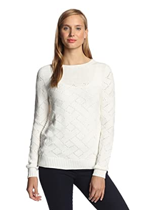 M.Patmos Women's Basketweave Boatneck Sweater (White)