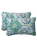 Pillow Perfect Indoor/Outdoor Summer Breeze Corded Rectangular Throw Pillow, Pool, Set of 2