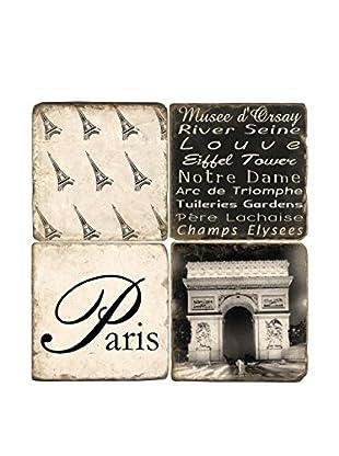 Studio Vertu Set of 4 Black & White Paris Tumbled Marble Coasters with Stand