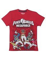 Bio world Boys' Round Neck Power rangers Tween Cotton Half Sleeve T-Shirt Molten Lava [8903346241804] -(13-14 years )