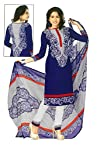 SGC Blue Crepe Printed Unstitched Churidar Kameez - (M-4274)