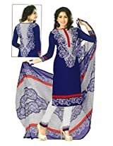 Shree Ganesh Clothing Women Crepe Salwar Suit Dress Material (M-4274 _Blue _Free Size)
