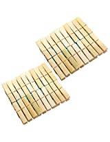CrispyDeals Wooden Clips Bamboo Cloth Pegs Set of 40 Clips