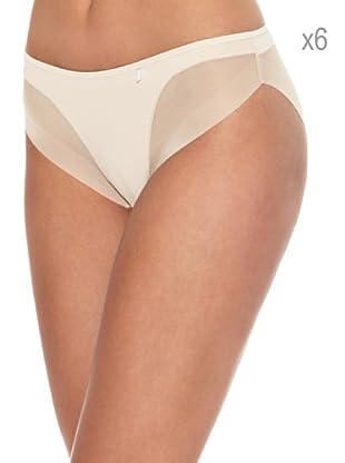AVET Pack x 6 Braguita Bikini Efecto Tanga (Beige)