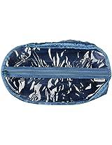 Black Box Poly Satin and Vinyl Blue Shoe Bag