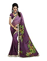 Raj Laxmi Women's Georgette Saree (Purple)