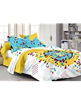 Story@Home Metro Pigment Mix N Match 186 TC Bedsheet for Double Bed with 2 Pillow Cotton Covers, White