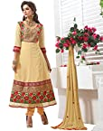 Surat Tex Golden Embroidered Pure Georgette Semi Stitched Anarkali With Dupatta