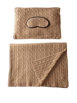 Sofia Cashmere Emilia Cable Knit Travel Set (Camel)