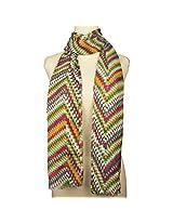 Vozaf Women's Viscose Stoles & Scarves - Multicolour With Chevron Print