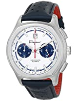 Salvatore Ferragamo Mens FQ1090014 Lungarno Stainless Steel Automatic Watch with Blue Leather Band