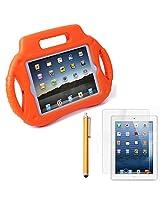 HDE iPad Mini Case Kids Shock Proof Steering Wheel Stand for Apple iPad Mini / 2 / 3 / Retina with Screen Protector + Matching Stylus(Orange)