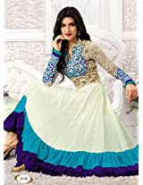Rozdeal Women Georgette Embroidered Unstitched Long Sleeve White and Blue Anarkali Suit
