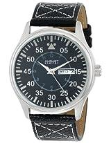 August Steiner Men's AS8074SS Quartz Black Dial Black Leather Strap Watch
