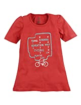Oye Girls Half Sleeve Tee With Chest Print - Deep Sea Coral (4-5 Y)