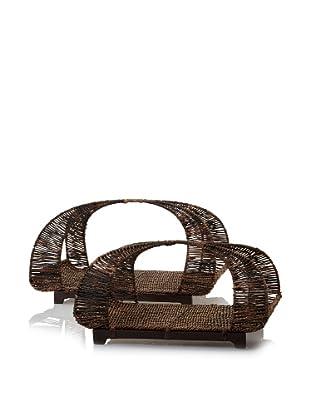 Padma's Plantation Set of 2 Ribbon Baskets with Wood Bases (Abacá Twist)