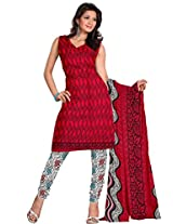 Florence Red Printed Cotton Suit (SB-1411_Red)
