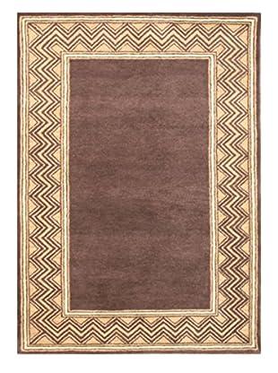 Chevron Border Rug, Brown/Tan, 5' x 8'