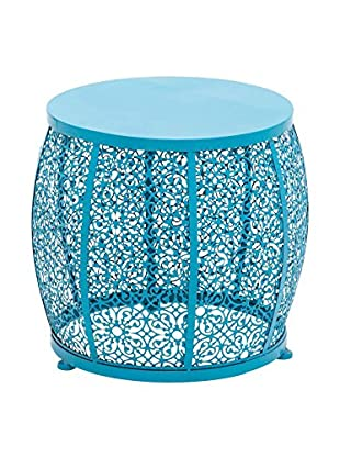 Metal Blue Round Accent Table