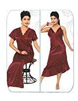 Indiatrendzs Women's Sexy Hot Nighty Red 2pc Set Bedroom Sleepwear Freesize