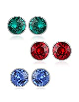 6 mm Swarovski Elements Studs Combo - Blue Green & Red Earrings by Mahi CO1104178R6mm