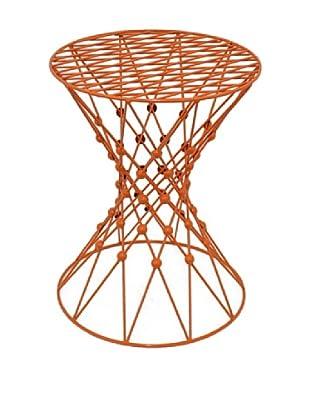 Three Hands Metal Geometric Accent Table, Orange