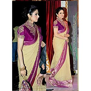 Sridevi Bollywood Replica Saree in pale yellow and magenta